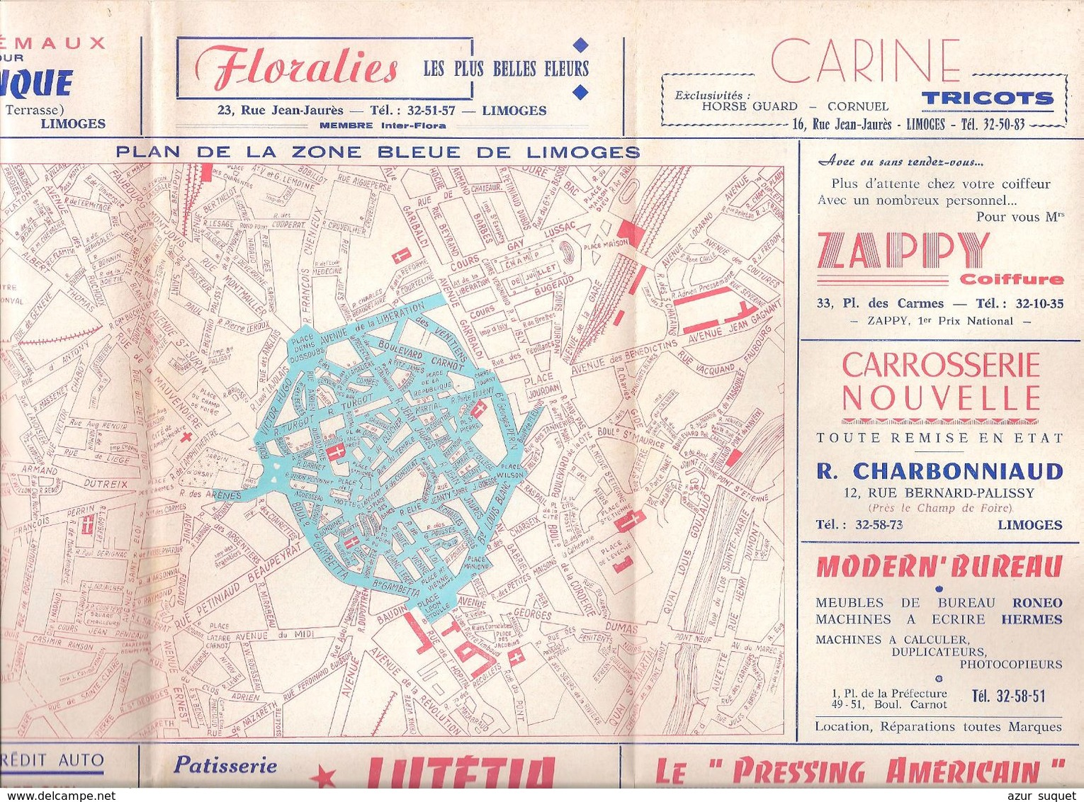 FRANCE/ANCIEN PLAN TRYPTICLE  DE ZONE BLEUE(1963)DE LA VILLLE DE LIMOGES/   NOM REUSES PUBLICITES AURECTO ET VERSO - Europe