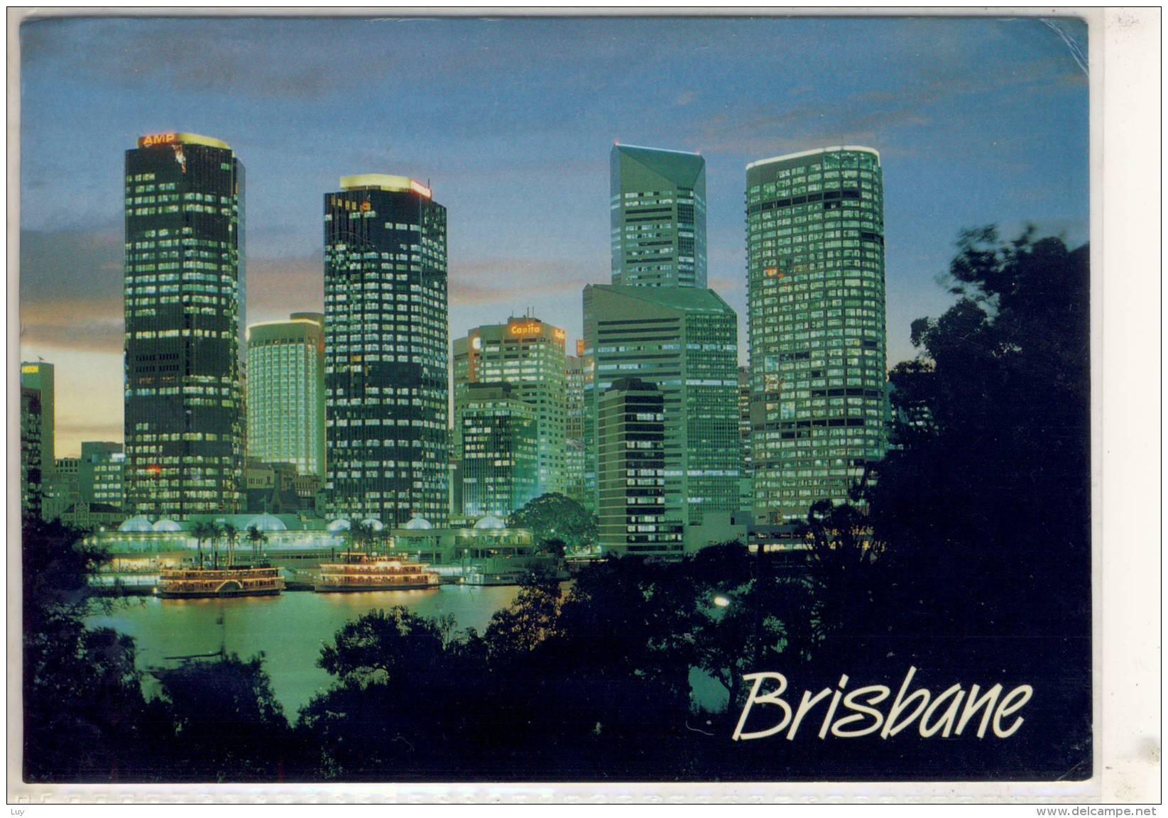 BRISBANE CITY LIGHTS  RIVER CRUISE BOATS LIGHT UP AT DUSK  STORIA POSTALE NICE STAMP - Brisbane