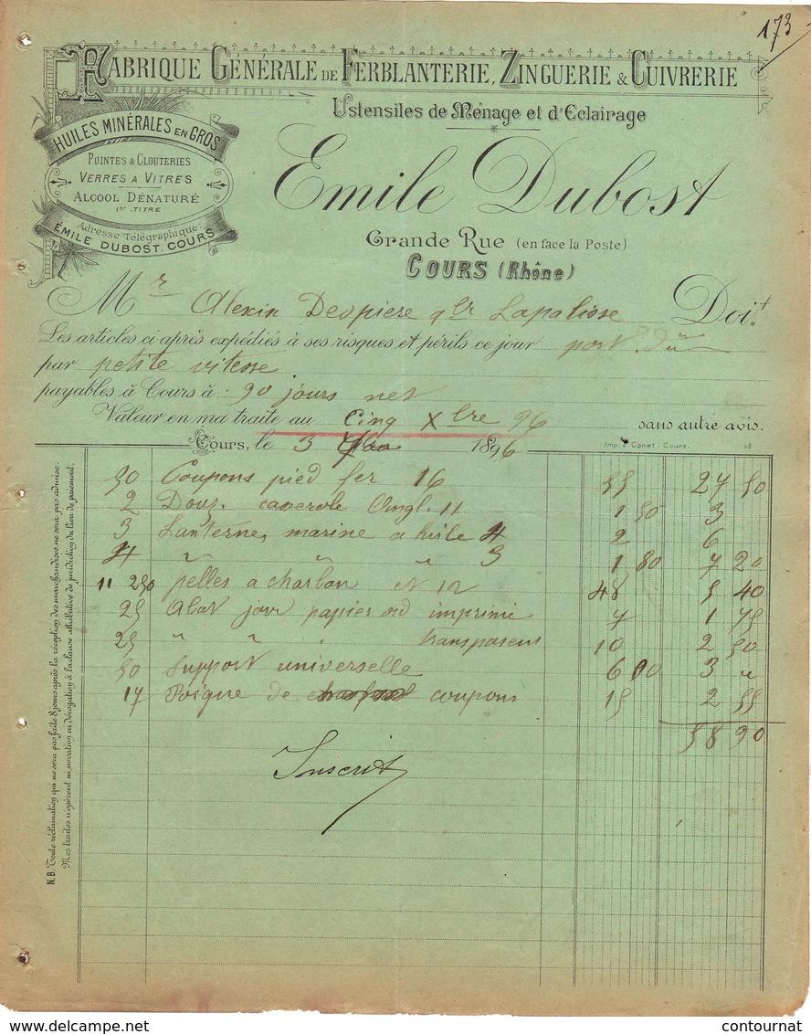 69 COURS FACTURE 1896 Fabrique De Ferblanterie Zinguerie Huiles Minérales  Emile DUBOST  * Z73 C/ THIZY Les Bourgs - France