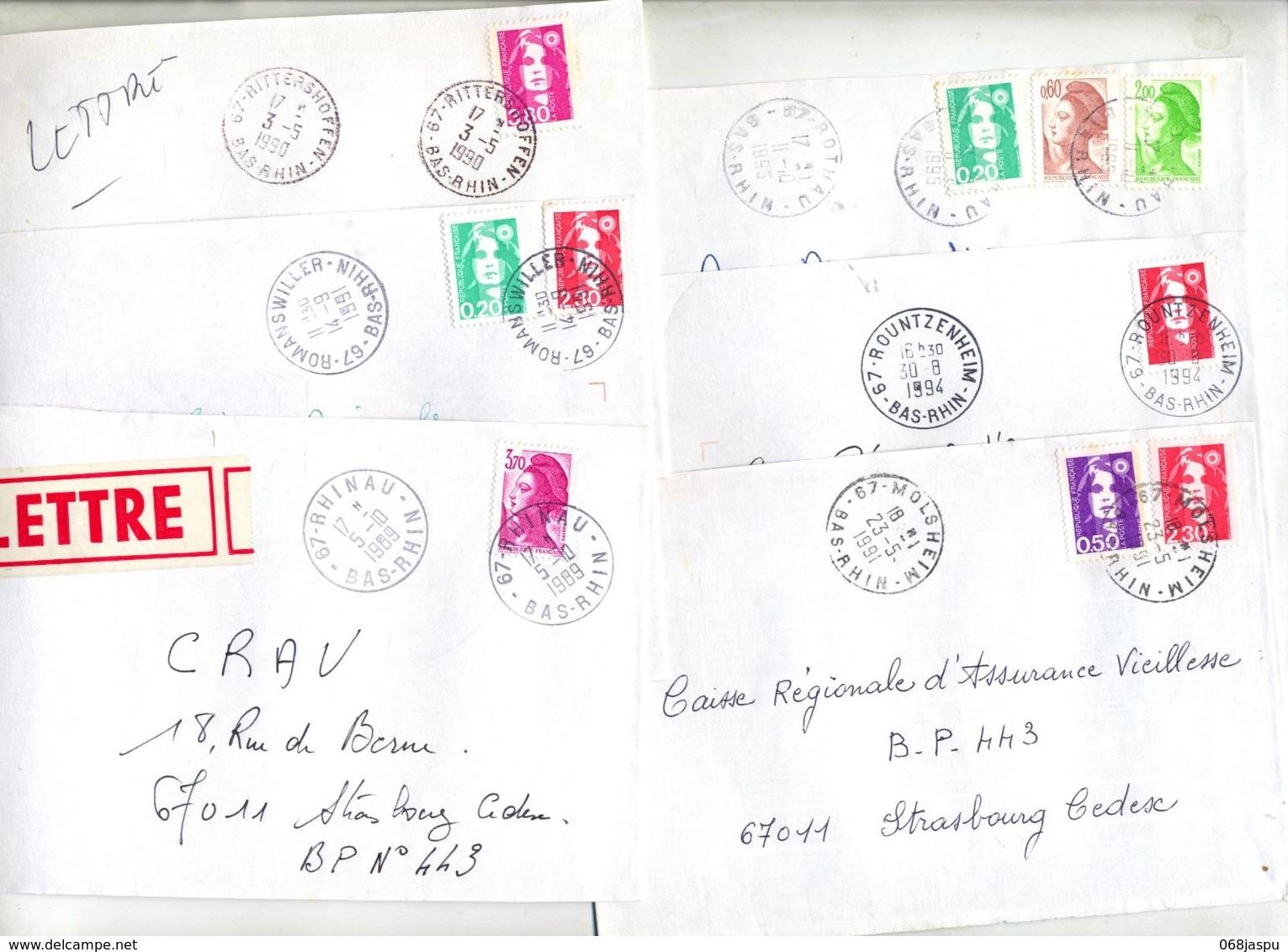 Lot 18 Lettre  Cachet Bas Rhin à Voir - Marcophilie (Lettres)