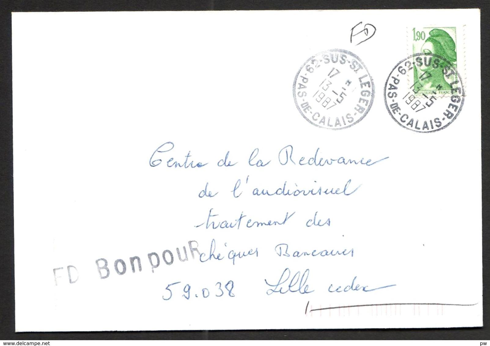 FRANCE '62 SUS SAINT LEGER'  1987  1 OBLITERATION - Marcophilie (Lettres)