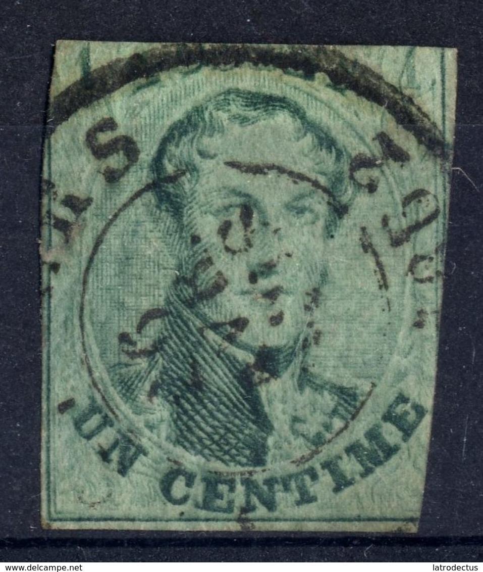 1851 - Nr 9 - Un Centime (°) - Dun Papier, Grote Kras Door Rechter 1 - 1858-1862 Medallions (9/12)