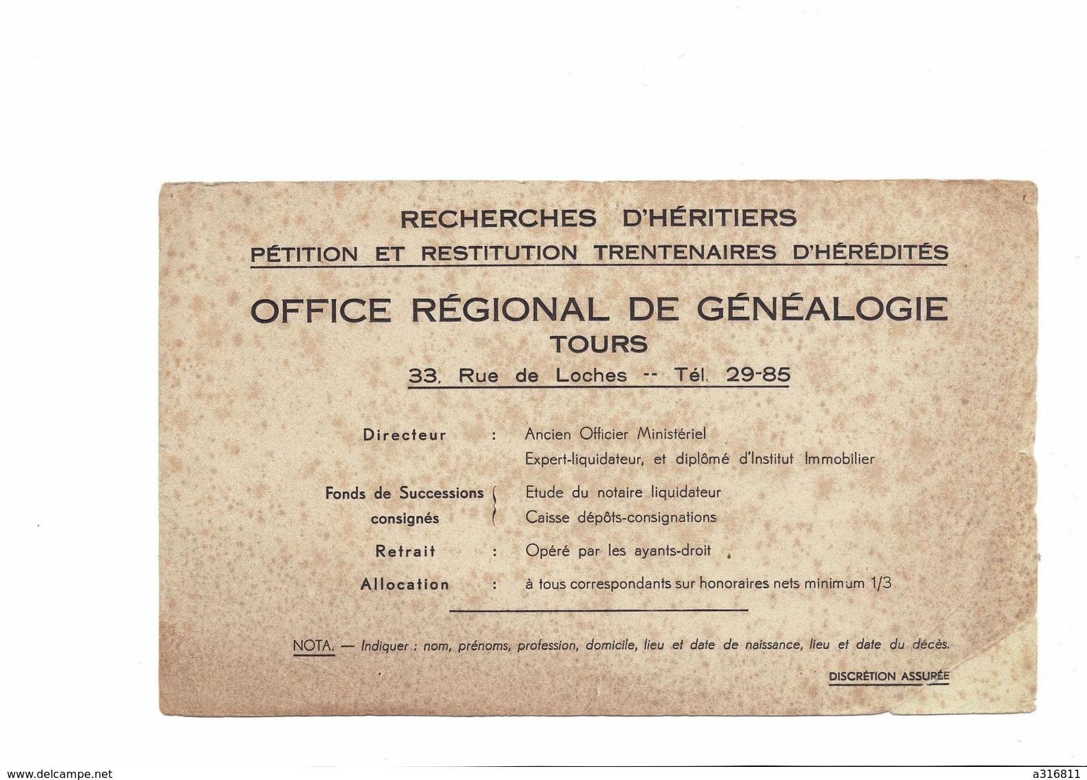 Buvard   OFFICE REGIONAL DE GENEALOGIE TOURS - Buvards, Protège-cahiers Illustrés