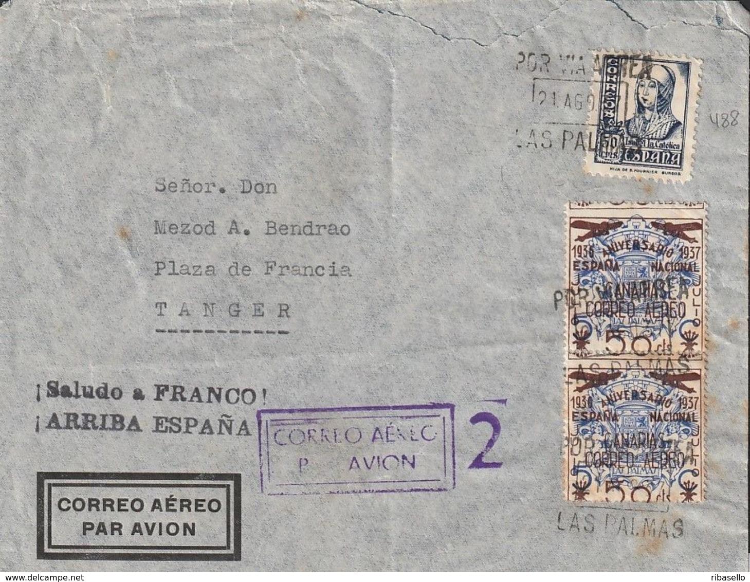 España 1937. Canarias. Carta De Las Palmas A Tanger. Barrio Moro. Censura. - Marcas De Censura Nacional