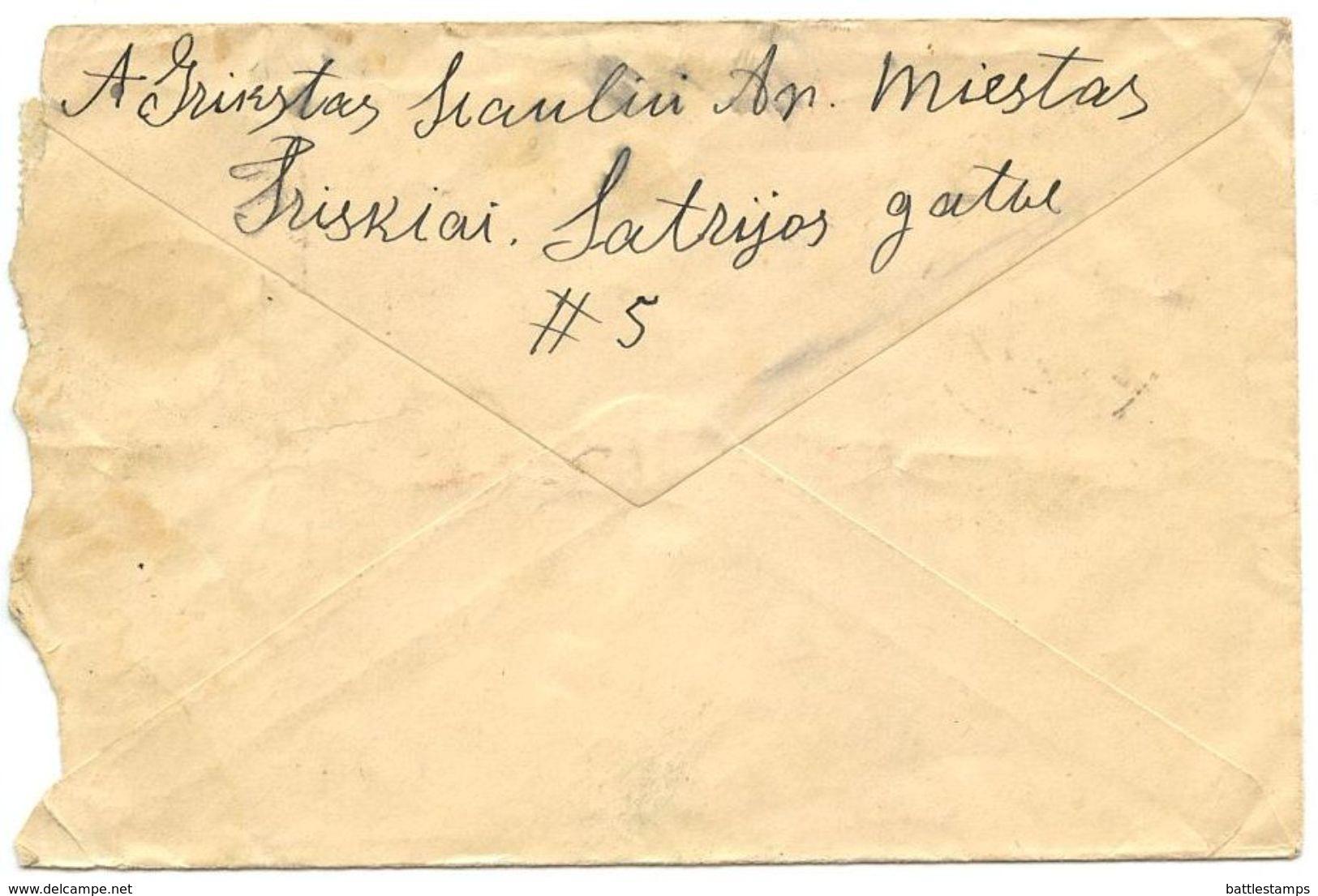 Lithuania 1937 Cover Tryškiai To Cambridge MA, Scott 300 60c. Pres. Smetona - Lithuania