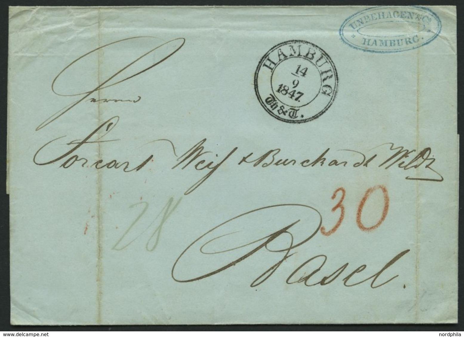 HAMBURG - THURN UND TAXISCHES O.P.A. 1847, HAMBURG Th.& T., K3 Auf Brief Nach Basel, Feinst - Thurn And Taxis