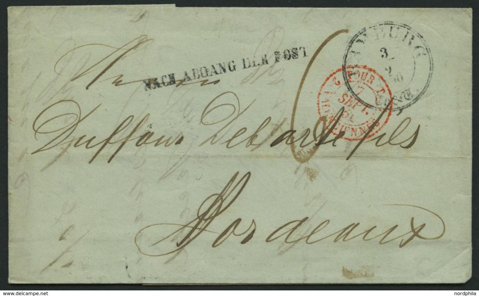 HAMBURG - THURN UND TAXISCHES O.P.A. 1850, HAMBURG Th.& T., K3 Auf Brief Nach Bordeaux, Forwarded-Letter Von Nottebohm & - Thurn And Taxis