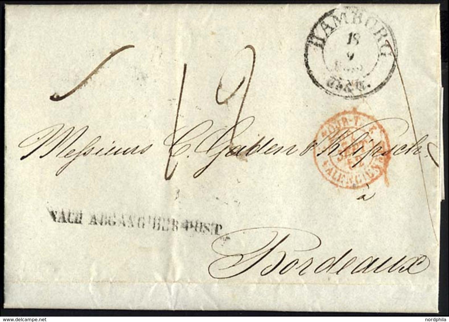 HAMBURG - THURN UND TAXISCHES O.P.A. 1852, HAMBURG Th.& T., K3 Auf Brief Nach Bordeaux, L1 NACH ABGANG DER POST, Pracht - Thurn And Taxis
