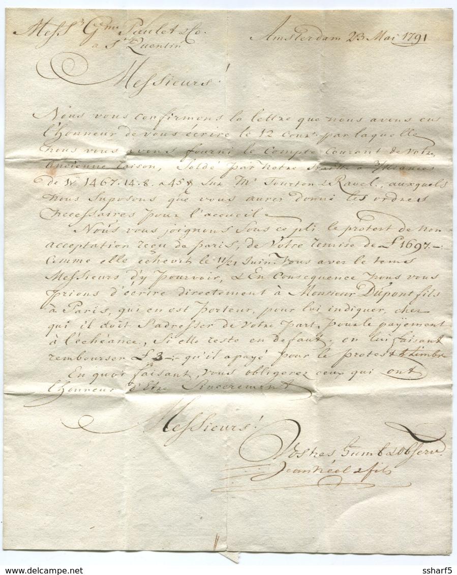 DE HOLLANDE Amsterdam 1791 To St Quentin - Niederlande