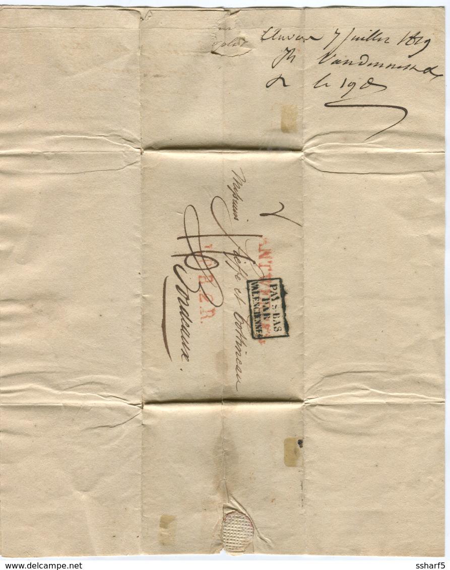 PAYS-BAS Par VALENCIENNES + ANTWERPEN Red +B.P.B. 2. R. Red From ANTWERPEN To BORDEAUX 1819 - Niederlande