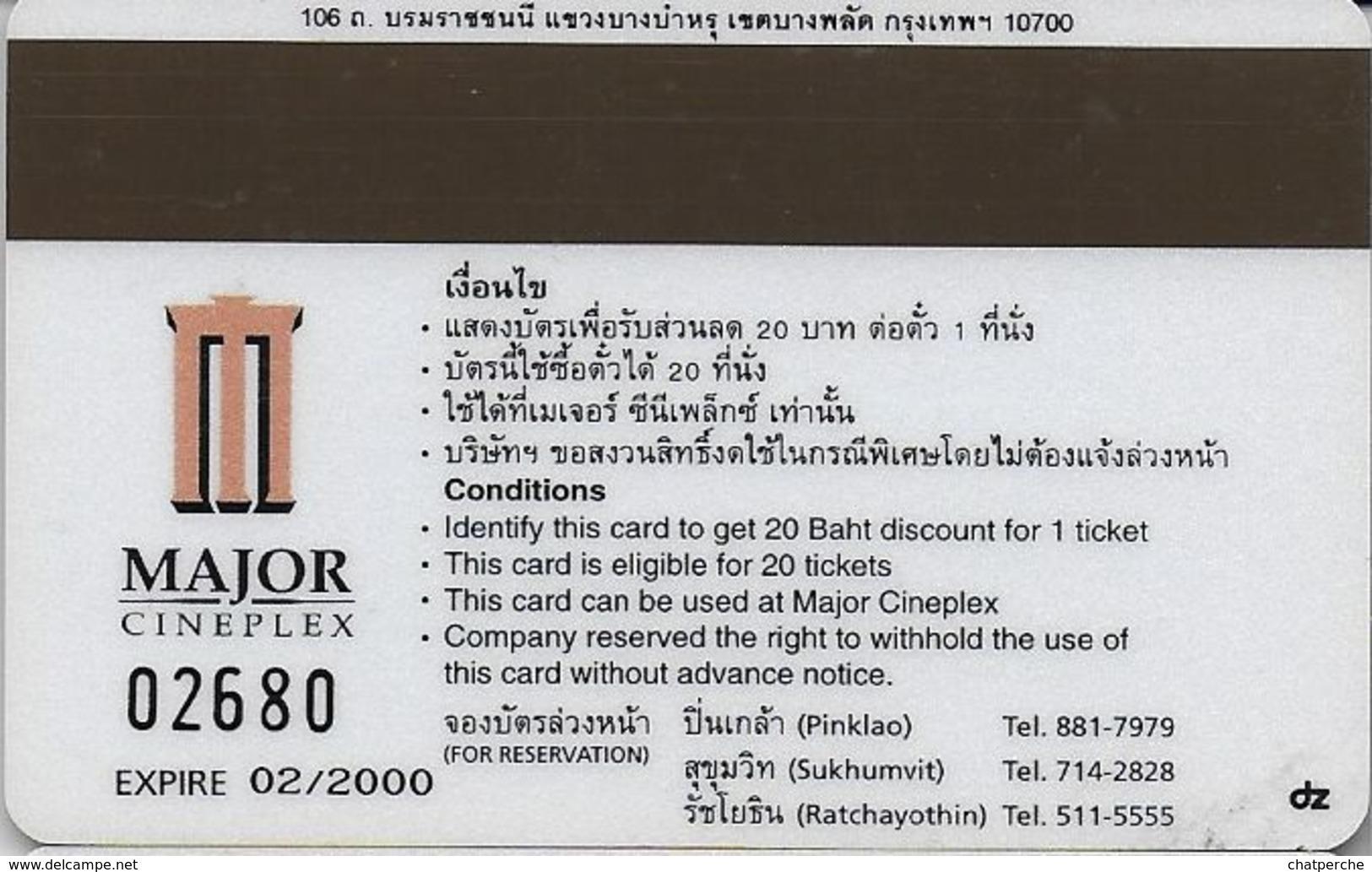 THAÏLANDE CINECARTE PHONECARD CARTE BANDE MAGNETIQUE STEPMOM MA MEILLEURE ENNEMIE JULIA ROBERTS 02/2000 MAJOR CINEPLEX - Thaïlande
