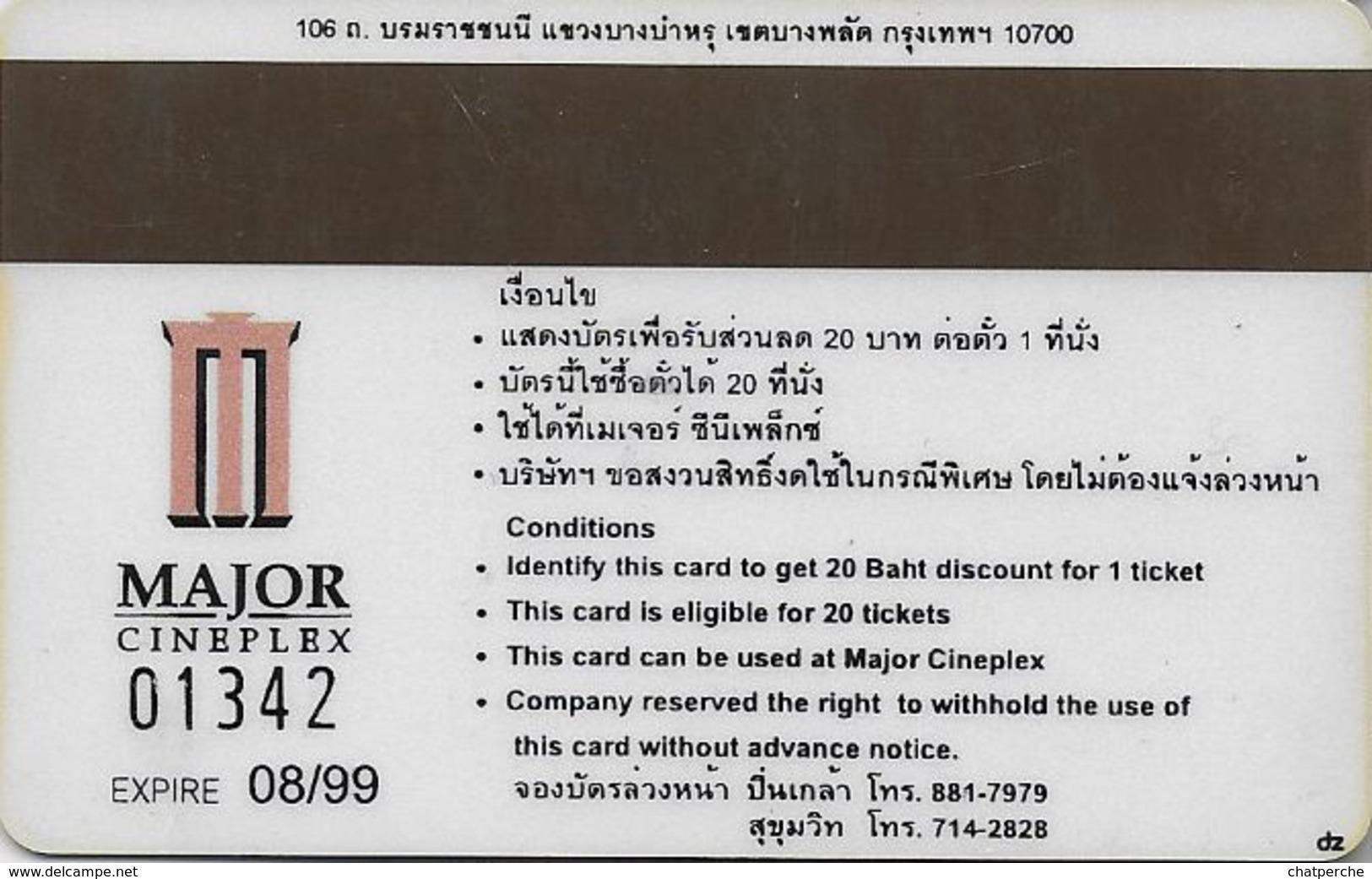 THAÏLANDE CINECARTE PHONECARD CARTE BANDE MAGNETIQUE THE MASK OF ZORRO 081999  MAJOR CINEPLEX - Thaïlande
