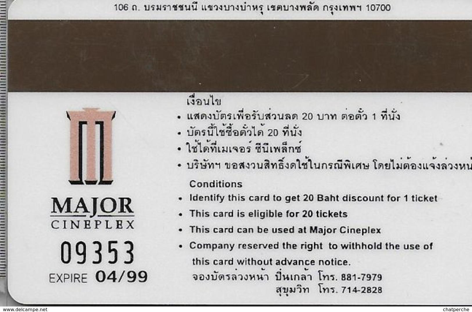THAÏLANDE CINECARTE PHONECARD CARTE BANDE MAGNETIQUE THE MAN IN THE IRON MASK 04/1999  MAJOR CINEPLEX - Thaïlande