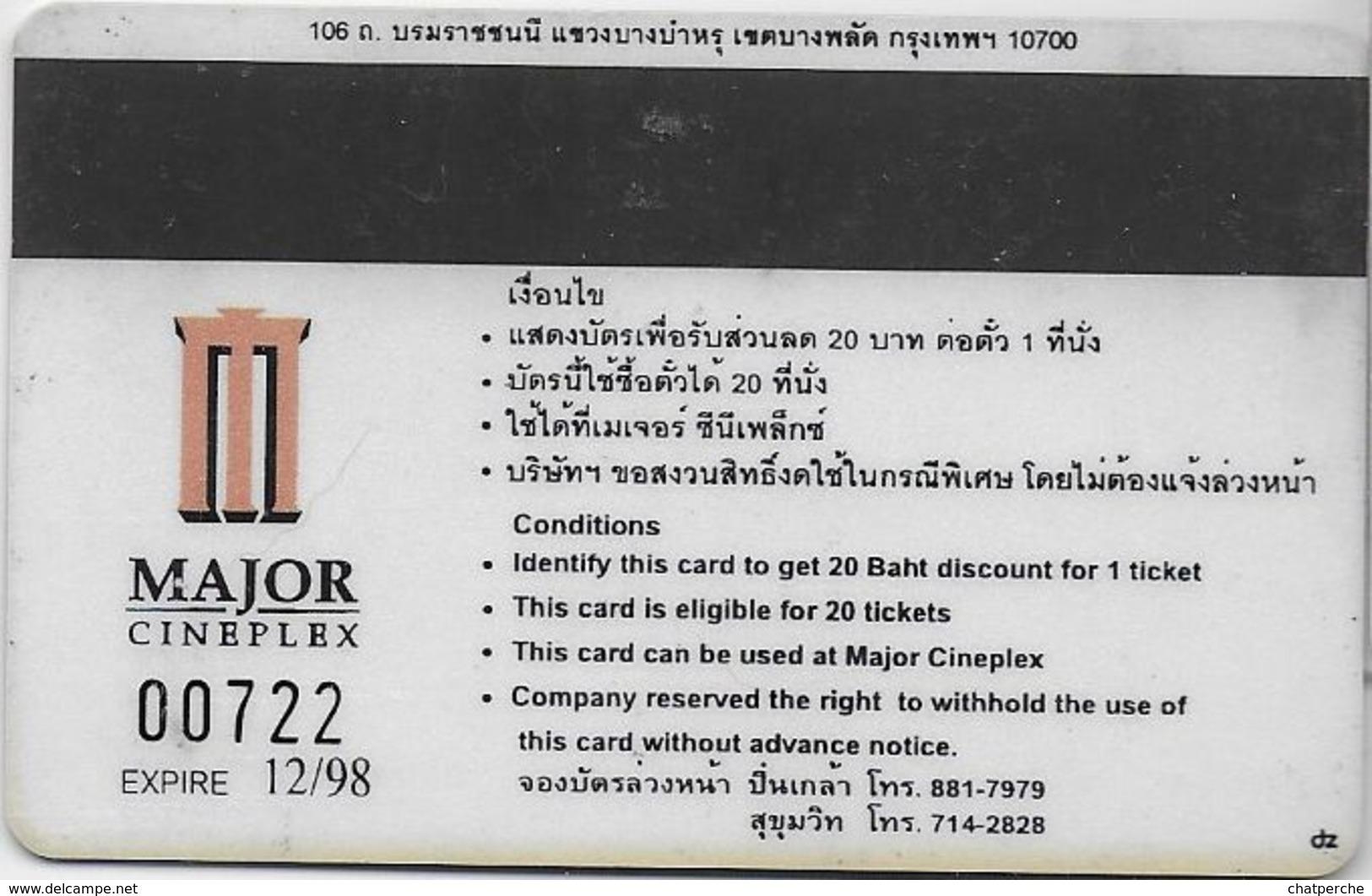 THAÏLANDE CINECARTE PHONECARD CARTE BANDE MAGNETIQUE STARSHIP TROOPERS 12/1998  MAJOR CINEPLEX - Thaïlande