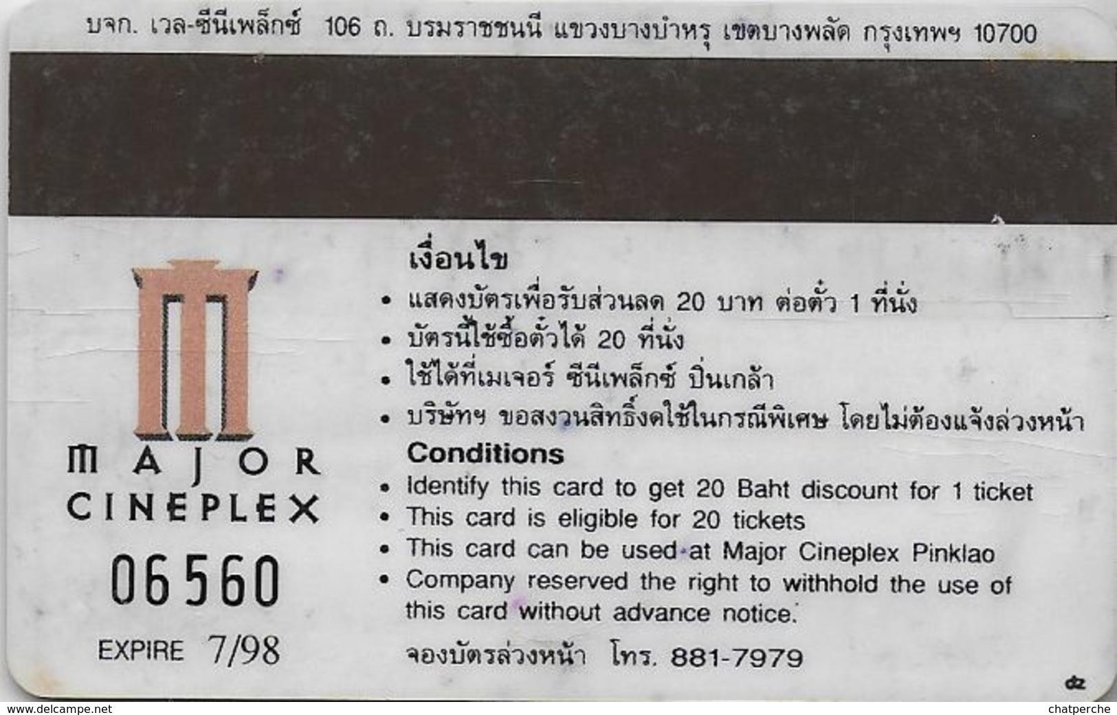 THAÏLANDE CINECARTE PHONECARD CARTE BANDE MAGNETIQUE  VILLAINS 07/1998  MAJOR CINEPLEX - Thaïlande