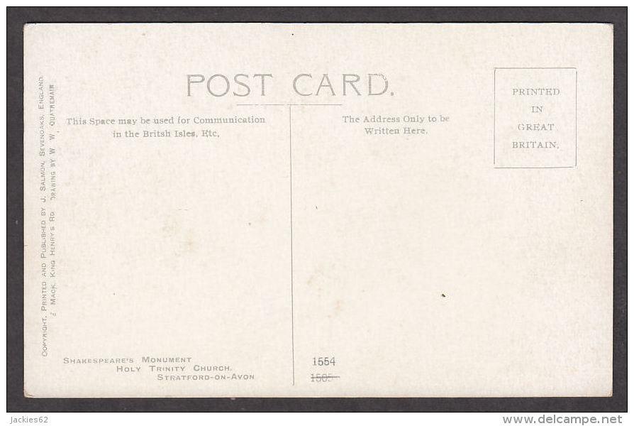 014664/ STRATFORD-ON-AVON, Shakespeare Monument, Holy Trinity Church, Drawing Bay W.W. Quatremain - Stratford Upon Avon