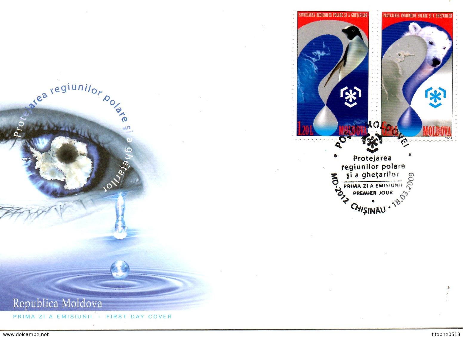 MOLDAVIE. N°560-1 De 2009 Sur Enveloppe 1er Jour. Protection Des Zones Polaires/Manchot/Ours. - Schützen Wir Die Polarregionen Und Gletscher