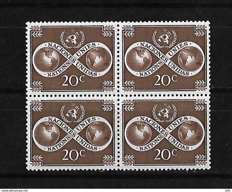 Naciones Unidas Oficina De Nueva York 1951 El Mundo Unido Bloque De 4 Sellos - New York - Sede De La Organización De Las NU