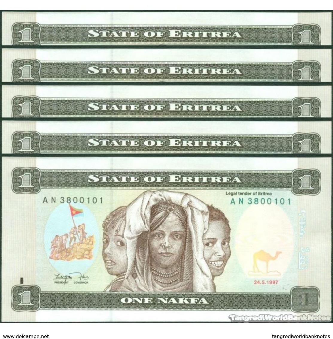 TWN - ERITREA 1 - 1 Nakfa 24.5.1997 DEALERS LOT X 5 - Prefix AN UNC - Erythrée