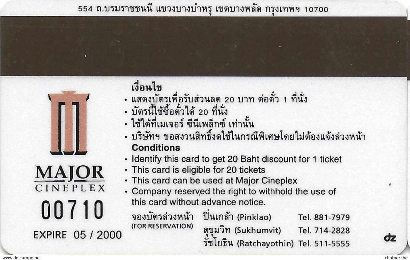THAÏLANDE CINECARTE PHONECARD CARTE BANDE MAGNETIQUE ENTRAPMENT  05/2000  MAJOR CINEPLEX - Thaïlande