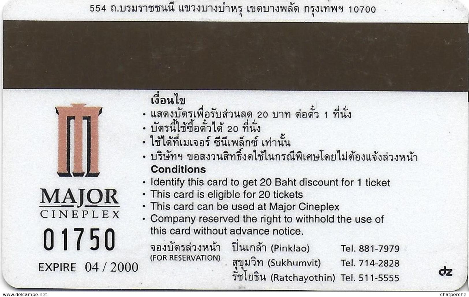 THAÏLANDE CINECARTE PHONECARD CARTE BANDE MAGNETIQUE 8 MM  04/2000  MAJOR CINEPLEX - Thaïlande