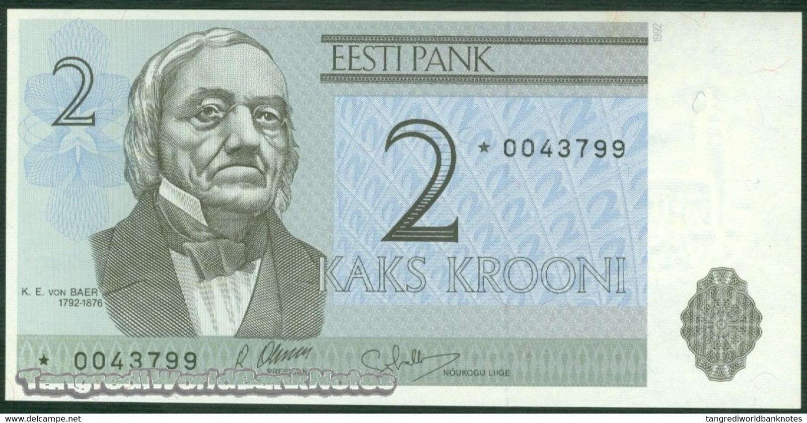 TWN - ESTONIA 70a - 2 Krooni 1992 Replacement * UNC - Estonia