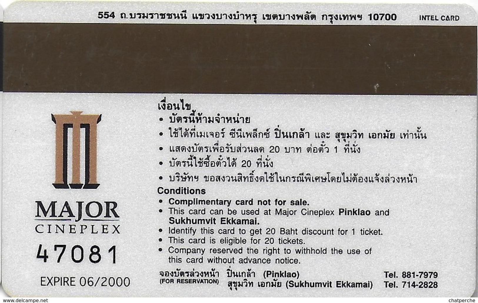 THAÏLANDE CINECARTE PHONECARD CARTE BANDE MAGNETIQUE INSTINCT  06/2000  MAJOR CINEPLEX - Thaïlande