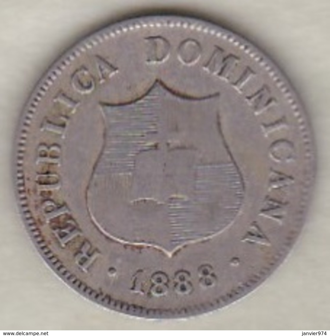 Republique Dominicaine . 2 ½ Centavos 1888 A Paris , KM# 7.3 - Dominicaine