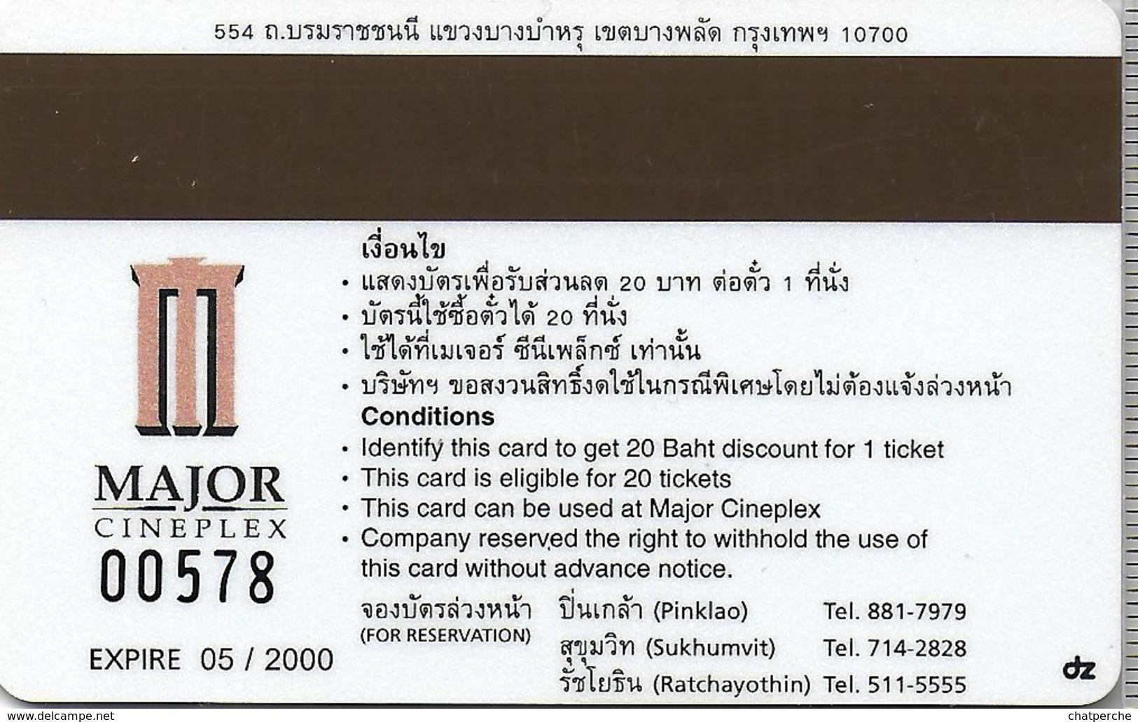THAÏLANDE CINECARTE PHONECARD CARTE BANDE MAGNETIQUE MATRIX  05/2000  MAJOR CINEPLEX - Thaïlande