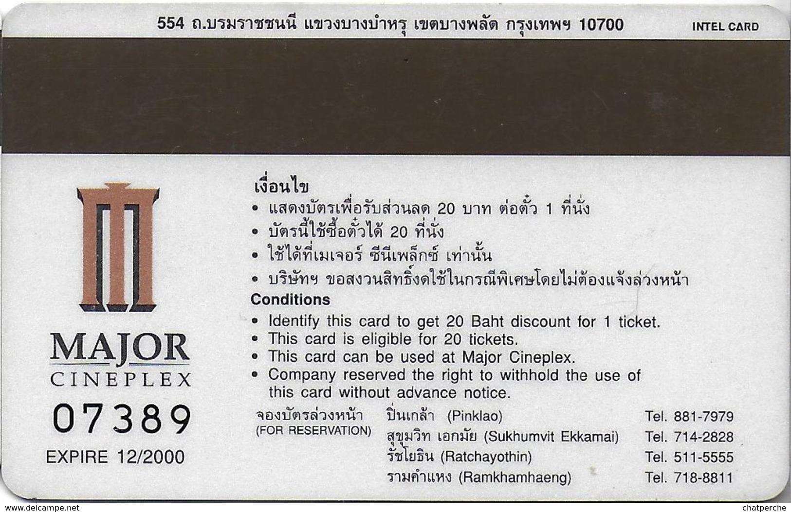THAÏLANDE CINECARTE PHONECARD CARTE BANDE MAGNETIQUE END OF DAYS  12/2000  MAJOR CINEPLEX - Thaïlande