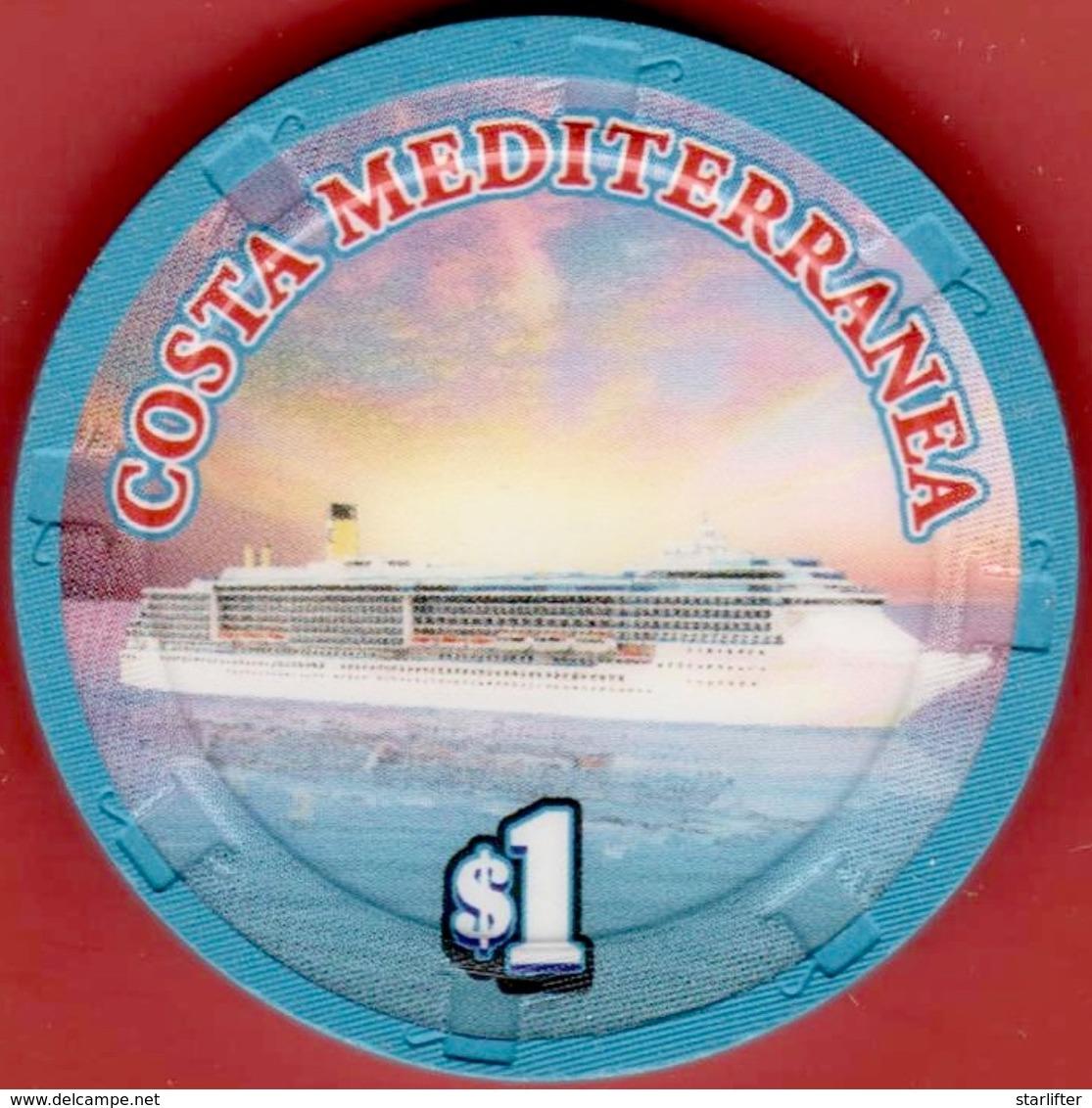 $1 Casino Chip. Costa Mediterranea, Canale Grand Cruise Ship[. K95. - Casino