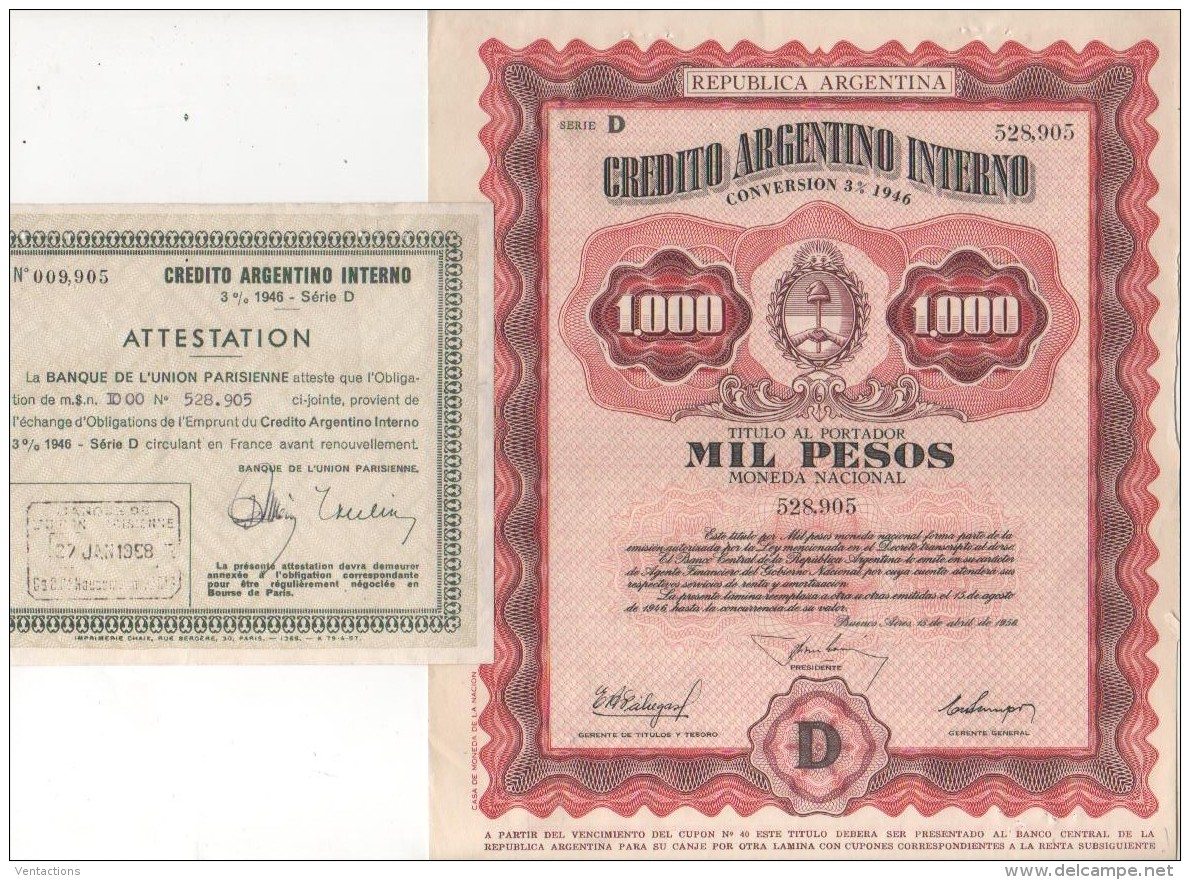 ARGENTINE-CREDITO ARGENTINO INTERNO 3% 1946 1 000 Pesos - Shareholdings