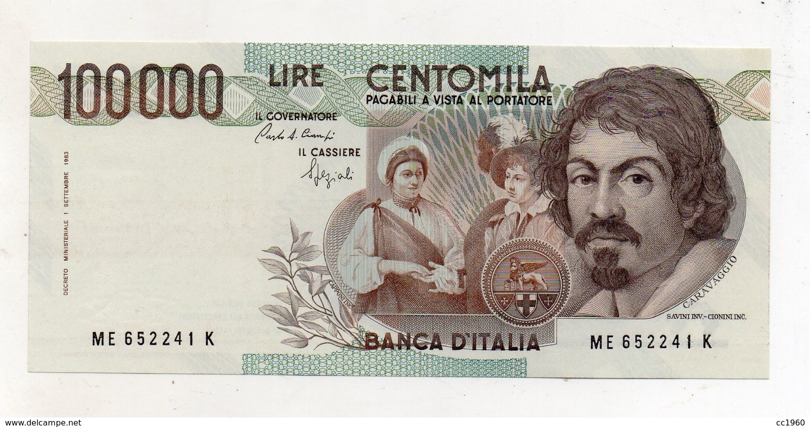 """Italia - Banconota Da Lire 100000 """" Caravaggio 1° Tipo -  FDS - Decreto 06.03.1992 - (FDC8451) - [ 2] 1946-… : Repubblica"""