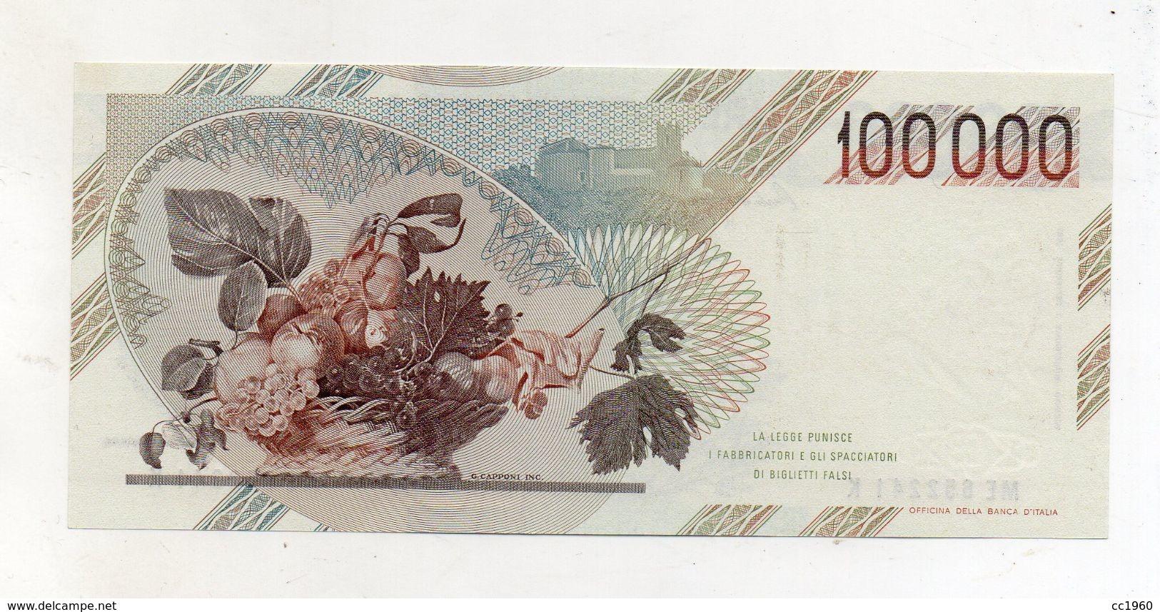"""Italia - Banconota Da Lire 100000 """" Caravaggio 1° Tipo -  FDS - Decreto 06.03.1992 - (FDC8451) - [ 2] 1946-… : République"""