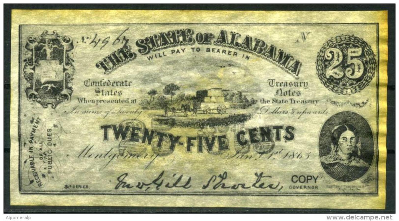 """25¢ Alabama 1863 - Confederate Paper Coins  """"REPLICA"""" - Confederate Currency (1861-1864)"""