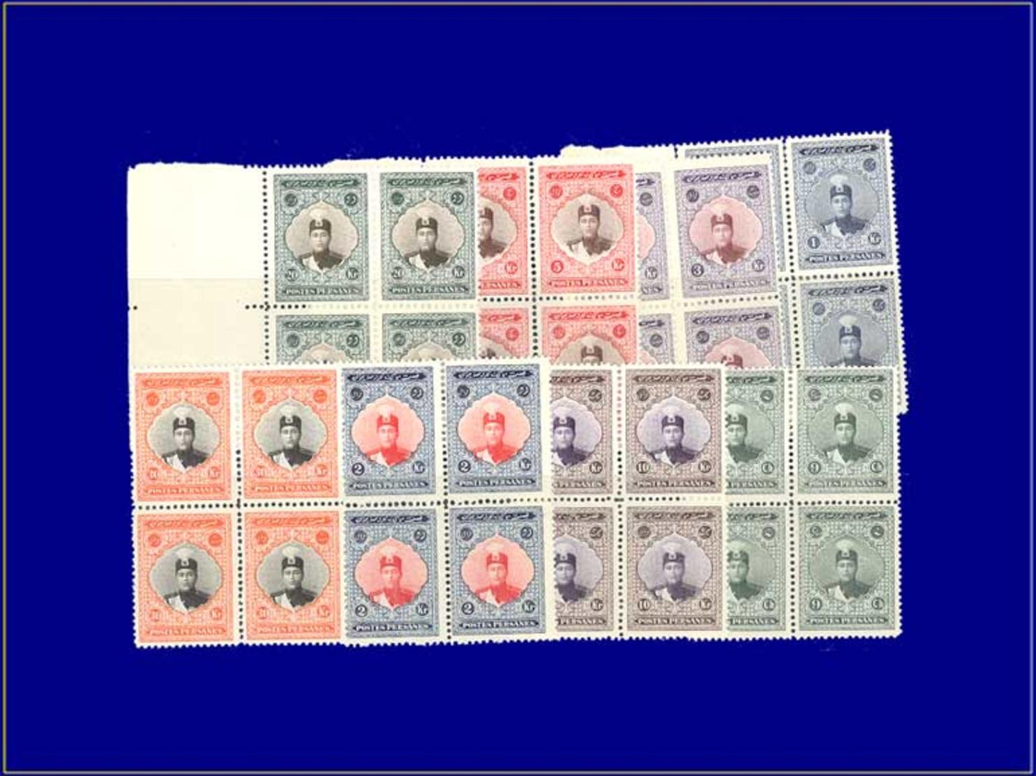 Qualité: XX – 463 + 466/72, 8 Blocs De 4, Cerains Cdf: Shah Ahmad 1924. Cote: +880 - Iran