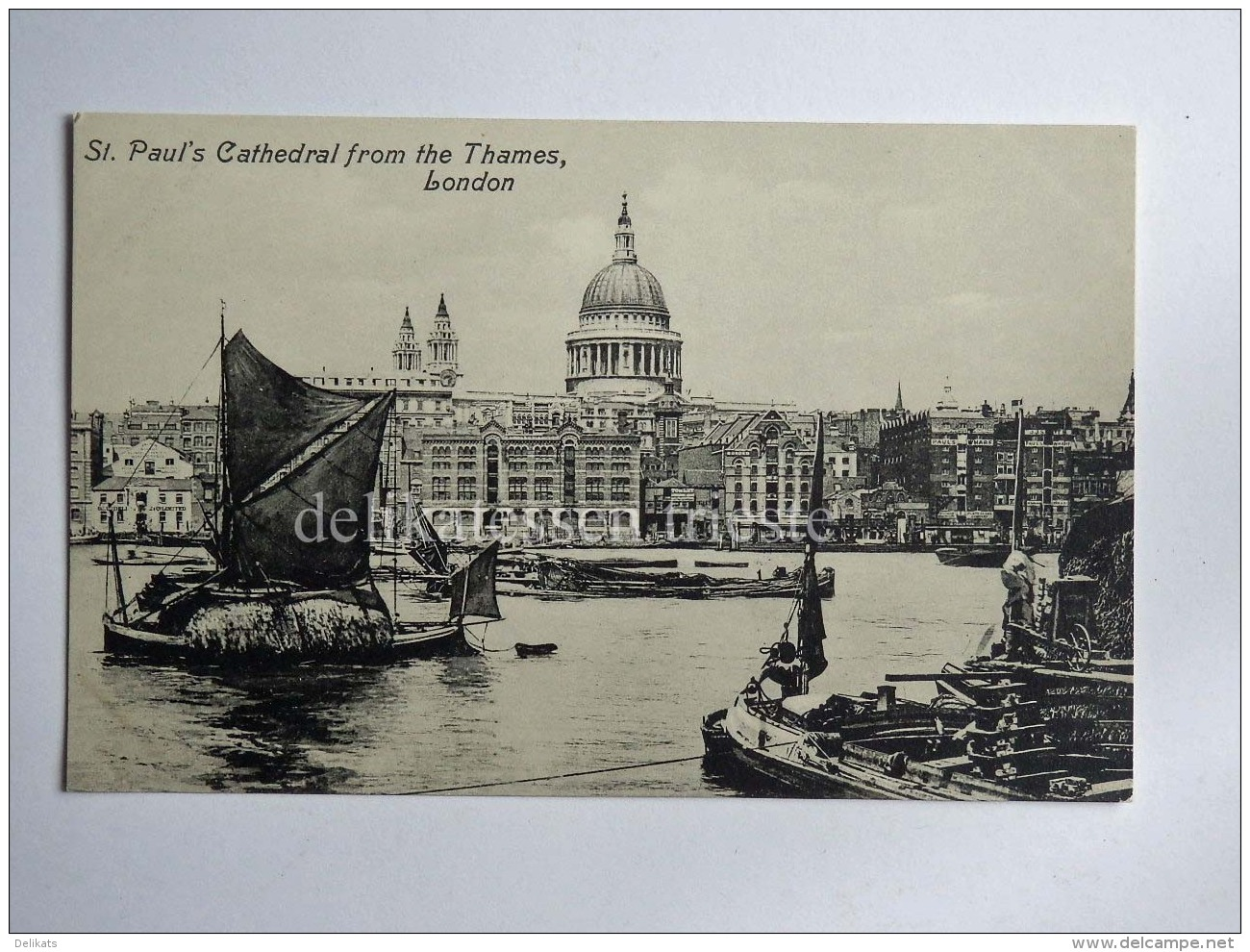 UK LONDON Thames St. Paul's Boat Fisherman Old Postcard - St. Paul's Cathedral