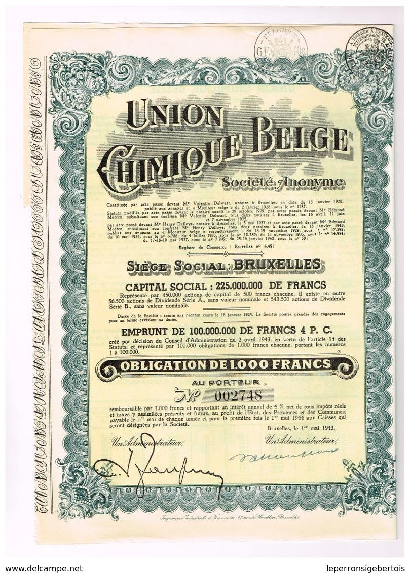 Obligation Ancienne - Union Chimique Belge- Titre De 1943 - Industrie