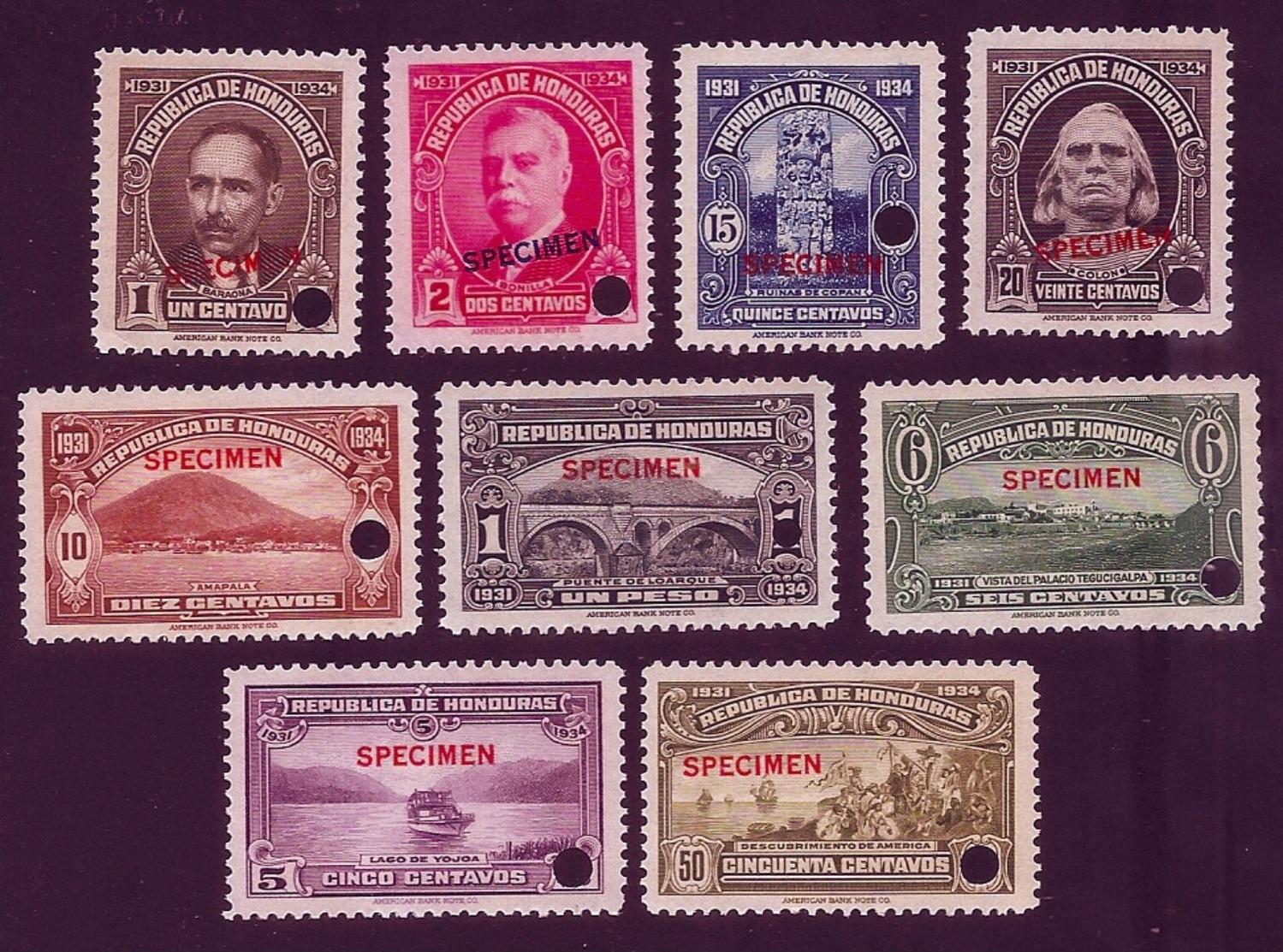 {{{ LATIN AMERICA  HONDURAS 1931 Pictorial Set Of 9  SHIP BRIDGE SPECIMEN AMERICAN BANK COMPANY MNH }}} - Honduras