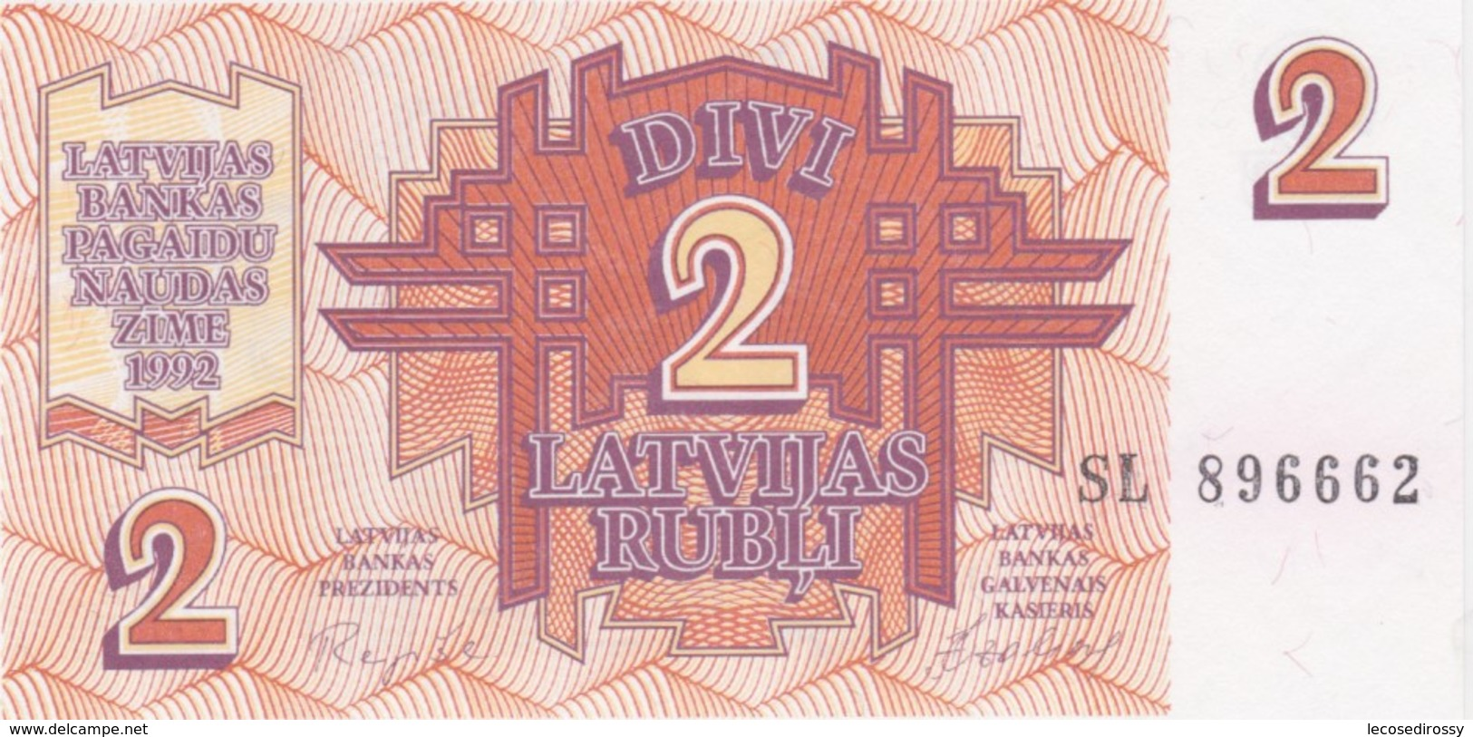 Rox LATVIA - 2 Rubles 1992  UNC - Latvia
