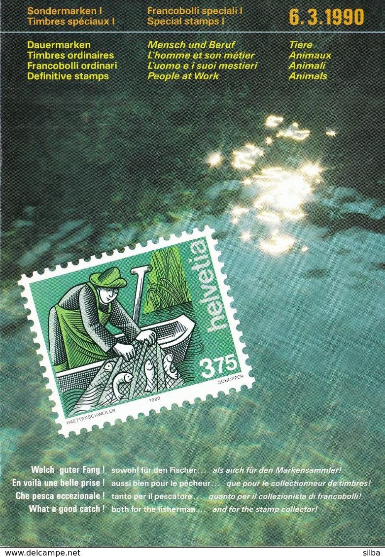 Switzerland / 1990 / Animals / Philatelic Postage Stamps Prospectus, Leaflet, Brochure - Fachliteratur