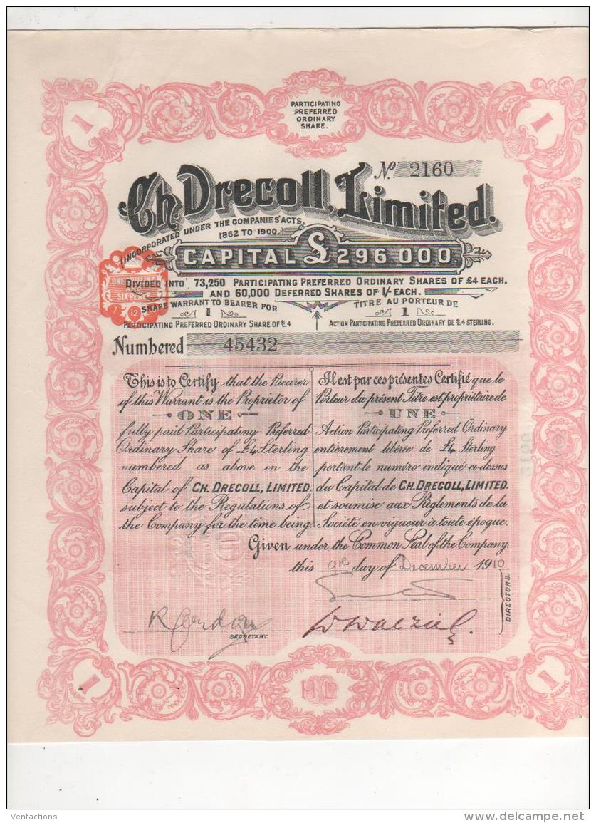 GB-DRECOLL. Ch. DRECOLL Ltd. Action 1910. UK - Shareholdings