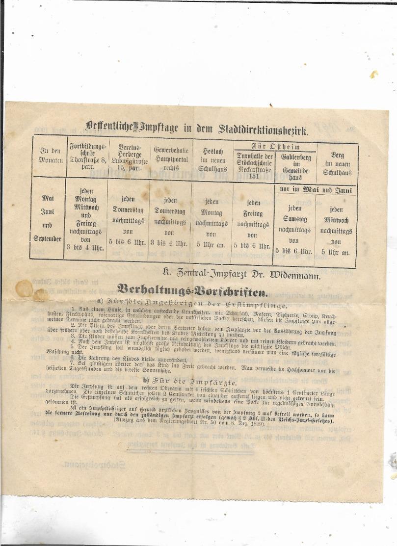 Vorladung Zur Impfung 1898! - Deutschland