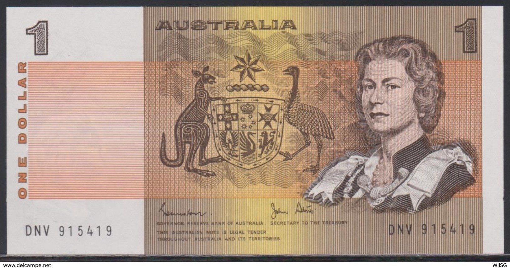 Australia 1 Dollar (ND 1983) UNC - 1974-94 Australia Reserve Bank (paper Notes)