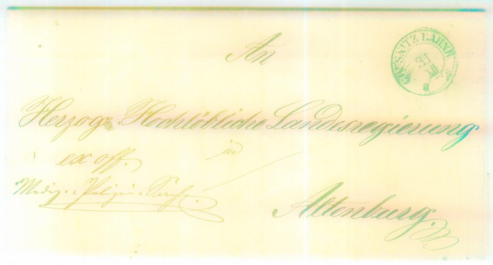 """""""GÖSSNITZ BAHNH."""" Guter K 1 Sylvesterbrief 1860 Nach Altenburg - Milde 88-1 - Sachsen"""