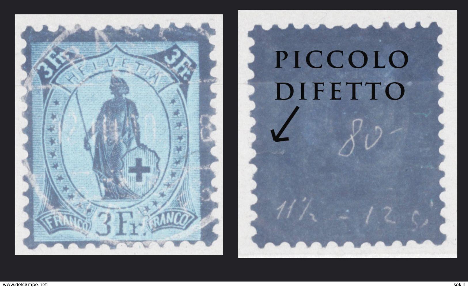 SVIZZERA - HELVETIA - (Vedere Fotografia) (See Photo) Lotto - 1882-99 - 3Fgranita Perf.11½x12 Rarità - 1882-1906 Stemmi, Helvetia Verticalmente & UPU