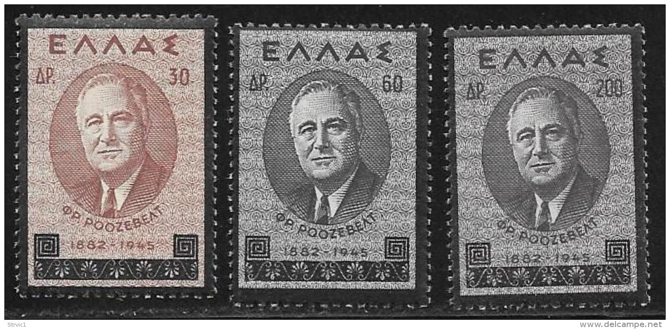 Greece, Scott # 469-71 MNH Roosevelt, 1945 - Unused Stamps