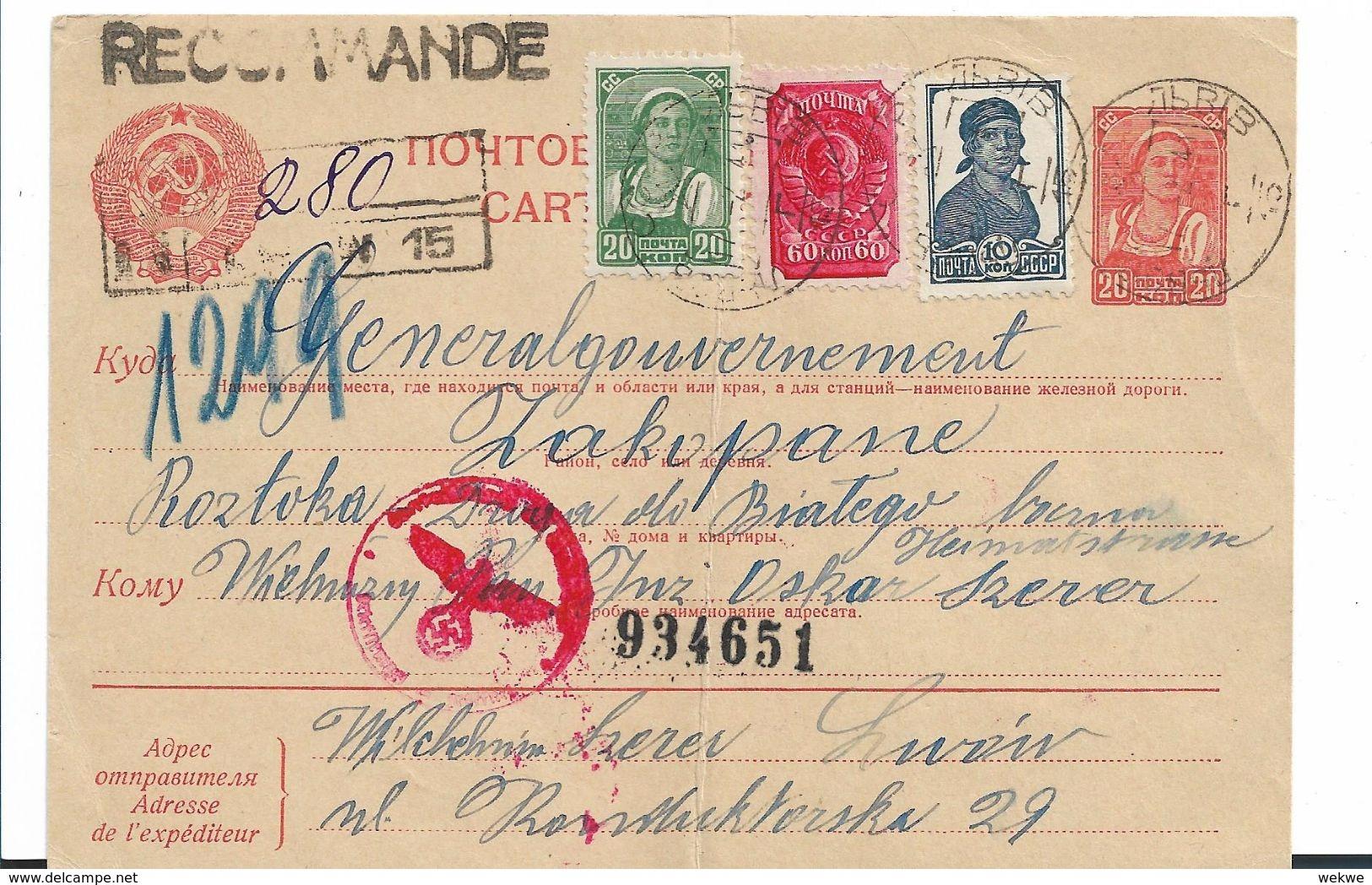 Rl253 / RUSSLAND -  Einschreiben, Karte 7.2.41 Nach Zakopane - 1923-1991 USSR