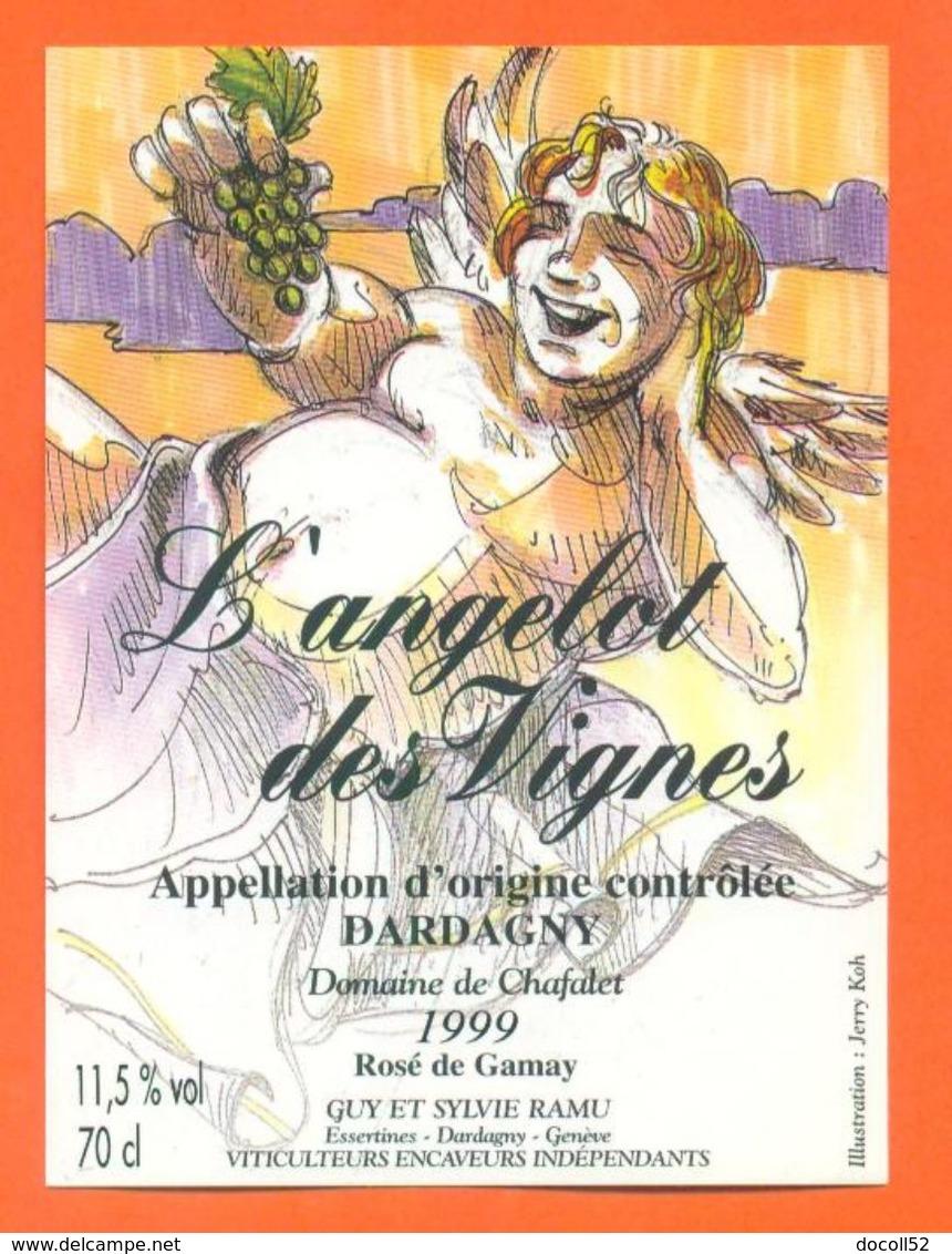 """étiquette De Vin Gamay Dardagny """" L'angelot Des Vignes """" Domaine De Chafalet Ramu à Genève - Illustrée Jerry Koch -70 Cl - Collections & Sets"""