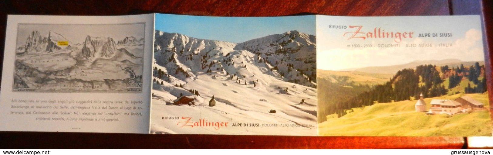 16124) RIFUGIO ZALLINGER ALPE DI SIUSI DOLOMITI BROCHURE FORMATO CARTOLINA - Bolzano (Bozen)